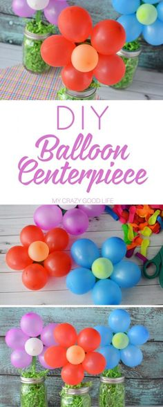 Making this DIY balloon centerpiece is quick and easy. Theyre so fun and festive Im sure youll find ways to use them for all kinds of parties and events! - Crafts Diy Home Balloon Centerpieces Wedding, Masquerade Centerpieces, Birthday Party Centerpieces, Simple Centerpieces, Balloon Decorations, Halloween Decorations, Tropical Centerpieces, Centerpiece Ideas, Trolls Birthday Party