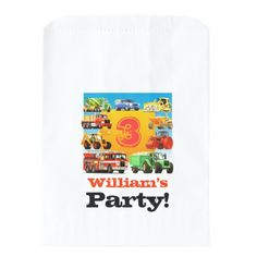 Trucks Birthday Party Favors Kids Custom Name Construction Truck Birthday Party Favor Bag