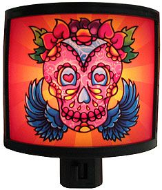 These fun Day of the Dead night lights are great for any childrens room or as decorations for other celebrations like Halloween!  Depicting scenes of a joyful and active afterlife, they are ideal for any place in the home that needs a little extra light at night. $11.95