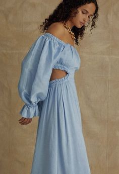 The Overture Blouson Midi Dress is a Ciel coloured, cutout detailed midi with statement blouson sleeve and off-shoulder neckline. Material: Linen Silk Fit : True To Size Aje Blue Midi Dress, Linen Dresses, Fashion 2020, Women's Fashion, Fashion Dresses, Fashion Clothes, Creations, Cold Shoulder Dress, Summer Dresses