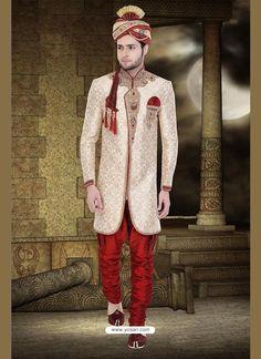 Stunning Cream Wedding Sherwani Model: YOSHV908