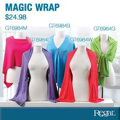 """MAGIC WRAP - From Regal Gifts Versatile lightweight acrylic knit wraps can be worn many ways. Buttons down the front or side allowing you to create a personalized fit and look to coordinate with any outfit. (18""""W x 61""""L)"""