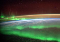 Space aurora  -- ESA astronaut Alexander Gerst took this image circling Earth on the International Space Station during his six-month Blue Dot mission.  --  Picture:esa.int