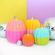 DIY No Carve Color Blocked Pumpkins