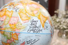 """Registry """"book"""" Sign Our Globe Willow Springs, Globe, Sign, Book, Wedding, Casamento, Balloon, Books, Livres"""