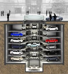 PerfectPark Safety and LEED construction is Underground Robotic and Automated Parking Garage Systems - System Overview Parking Plan, Car Parking, Mansion Homes, Garage Systems, Parking Solutions, Underground Garage, Cool Garages, Parking Design, Garage Design