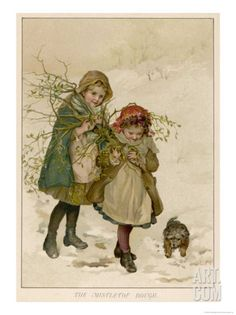 Two Girls and Their Dog Gather Mistletoe in the Snow Premium Giclee Print by Lizzie at Art.com
