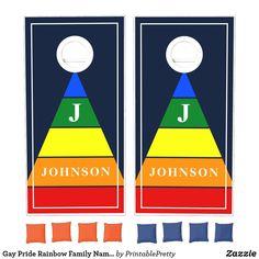 Gay Pride Rainbow Family Name Retro Triangle Cornhole Set Custom Cornhole Boards, Cornhole Set, Rainbow Family, Rainbow Pride, Lawn Party, Johnson And Johnson, Orange Bag, Epic Games, School Colors