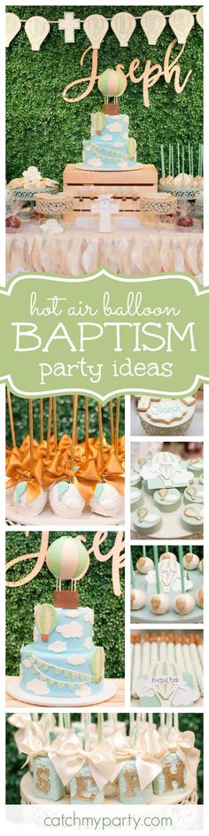 You are going to love this gorgeous hot air balloon Baptism celebration. The cake and hot air balloon cake pops are adorable! See more party ideas and share yours at CatchMyParty.com