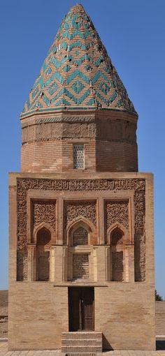 View of the Il Arslan Mausoleum, Kunya Urgench, Turkmenistan Mosque Architecture, Art And Architecture, Iran Travel, Asia Travel, Islamic World, Islamic Art, Peking, Silk Road, Central Asia