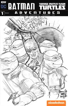 Modern day nostalgia with Batman and the Teenage Mutant Ninja Turtles by Matthew Hirons of saintworksart. Batman Tmnt, Batman Universe, Sketch Art, Teenage Mutant Ninja Turtles, Amazing Art, Dc Comics, Nostalgia, Graphics, Adventure