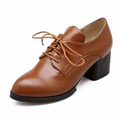 85c0c8a33f9c Latasa Women s Chic Lace-up Chunky Mid-heel Oxfords Shoes     Want
