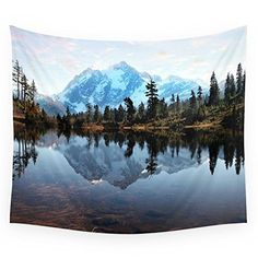 """Society6 Mountains. Foggy Sunset Wall Tapestry Small: 51"""" x 60"""""""