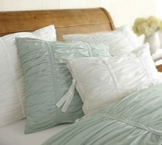 Hadley Ruched Duvet Cover & Sham - Blue | Pottery Barn