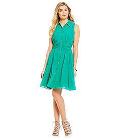 KARL LAGERFELD PARIS ChA-line silhouette Point collar Sleeveless Shank buttonsmeriffon Button Front Dress #Dillards