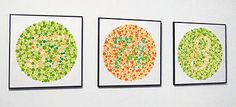 Ishihara color blind test plates as art Optometry Office, Office Art, Office Decor, Office Ideas, Tessellation Patterns, Eye Chart, Clinic Design, Triptych, Blinds