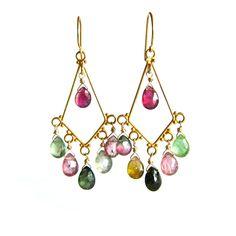 Tourmaline chandelier earrings gold   Kahili Creations Handmade Jewelry from Hawaii