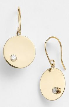 "2014 #nsale Lana Jewelry Diamond Disc Drop Earrings available at #Nordstrom  Sale: $465.90 After Sale: $695.00 Item #754287  Side-swept diamond solitaires provide unexpected detail to a high-polish pair of handcrafted disc earrings.      1"" drop; 1/2"" width.     French wire; clear plastic backs included for stability.     Total diamond weight: 0.06ct.     Color: G-H.     Clarity: SI1.     14k gold/diamond.     By Lana Jewelry; made in the USA."