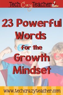 23 Power Words for developing the Growth Mindset in your classroom. Words are powerful. Let's get our students speaking the right words.