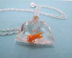 Fish in bag necklace with ice resin / epoxy hars