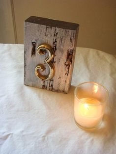 rustic table number by laverne