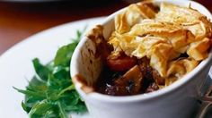 Individual steak & ale pie - I would serve the 'filling' as a casserole over mashed potato with a side of cabbage.