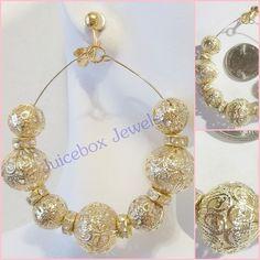CLIP ON 2.5 inch Filigree Gold Tone Big  Hoop Handmade Non-Pierced Earrings V25 #Handmade #Hoop