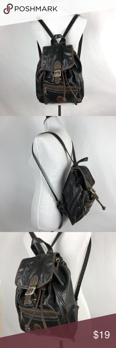 """Mouflon Faux Leather Black Backpack Tote Bag Mouflon   Black Faux Leather Backpack  Height 11""""  Width 9.5""""  Depth 5""""  Pre Owned  Good Shape No Holes,Snags,Stains or Fading  Pet Free Smoke Free Mouflon Bags Backpacks"""