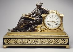 Mantel Clock (Pendule de chiminée), ca. 1757–60  Movement by the Workshop of Julien Le Roy (French, 1686–1759); Case by Joseph Baumhauer (French, active ca. 1749–72)  Case: gilded and patinated bronze, on a base of oak veneered with ebony; Dial: white enamel with black numerals; Movement: brass and steel