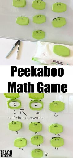 Hands-on Playful math: Peekaboo math game. A self-checking math game made from recycled diaper wipe lids. Great for addition, subtraction, or even vocabulary!!   via @karyntripp