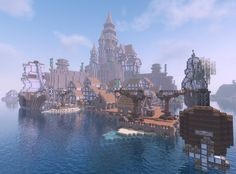 Minecraft medieval city with harbor the city is called Eldor and is divided in 4 parts These 4 Minecraft medieval Minecraft architecture Minecraft
