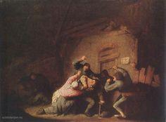 1.De afbeelding hierboven toont het schilderijRuziedoor Adriaen Jansz. van Ostade.Je ziet een man die wordt aangevallen door een paar andere mannen en een vrouw die haar man probeerd te beschermen.  2. Het schilderij heeft een sterk licht-donker contrast waardoor het een grauwer randje krijgt. Het tafereel wordt het sterkst uitgelicht, de nadruk ligt vooral op de twee slachtoffers.