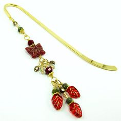 Beaded Metal Hook Bookmark  Ruby Red & Gold by BrossARTaddiction, $16.00