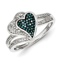 1/3 Carat Blue White Diamond Heart Ring In Sterling Silver Available Exclusively at Gemologica.com