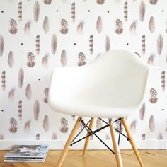 Feathers wallpaper dekornik Feather Wallpaper, Eames, Feathers, Chair, Furniture, Instagram, Home Decor, Decoration Home, Room Decor