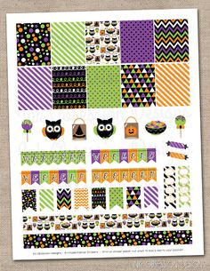 Halloween Owls Planner Stickers Set Instant Download DIY Printable PDF with Checklists Weekend Banners