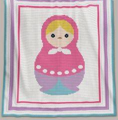 Crochet Pattern | Baby Blanket / Afghan - Matrioshka - Row-by-Row Instructions + Chart