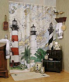 New For 2008 Is The Harbour Lights Nautical Themed Bathroom Shower Curtain  And Matching Accessories. I Miss Our Lighthouse Theme.