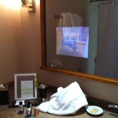Best Idea Ever  TV In Bathroom Mirror