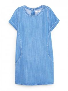 for the Liesel pattern. Mango Soft Denim Dress in Medium Blue Simple Summer Dresses, Trendy Dresses, Casual Dresses, Short Sleeve Dresses, Summer Sundresses, Denim Dresses, Sun Dresses, Dress Summer, Denim Dress Outfit Summer