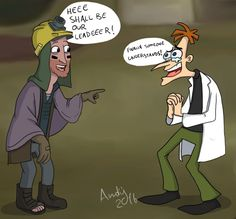 by @andy-allan-poe on tumblr - Milo Murphy's Law meets Phineas and Ferb -