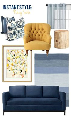 Navy Blue and Yellow Living Room. 20 Navy Blue and Yellow Living Room. Blue And Yellow Living Room, Blue Couch Living Room, Navy Living Rooms, New Living Room, Living Room Furniture, Bedroom Yellow, Wooden Furniture, Navy Blue Rooms, Mustard Living Rooms
