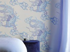 Japanese style motif vinyl wallpaper DRAGON Foulards Collection by Elitis