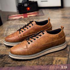 US $24 Men Casual Luxury Brand Flats Men Derby Shoes Brogues Shoes Zapatos Hombre Wingtip Shoes Black Gray Brown Plus Size Leisure