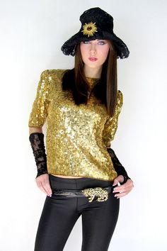 Vintage Gold GYPSY Top Sequin SILK Shirt  Disco by TatiTatiVintage,