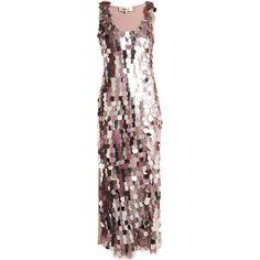 Diane Von Furstenberg Embellished sleeveless silk dress ($1,081) ❤ liked on Polyvore featuring dresses, white sequin cocktail dress, embellished dress, white dress, rose dress and white embellished dress