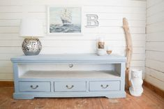Great distressed blue color media chest from DIY Passion.com