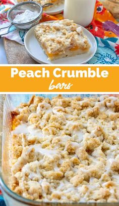 Easy Summer Desserts, Easy No Bake Desserts, Delicious Desserts, Dessert Recipes, Potluck Recipes, Peach Crumble Bars, Family Fresh Meals, Homemade Snickers, Strawberry Desserts