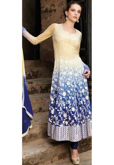 Light yellow and Blue Anarkali Net Churidar Kameez Online Shopping: KWY416B