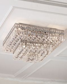 Mounts flush with the ceiling with little or no space between the fixture and the ceiling itself. Made of iron, copper, and lead-free optical crystal. Because of the high quality of the crystals used,